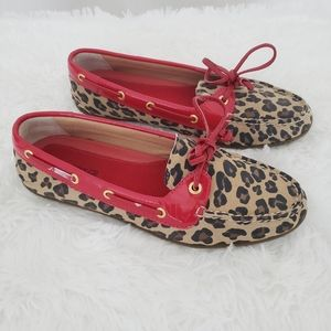 Sperry Leopard Print Shoes W/Red Trim NWOT